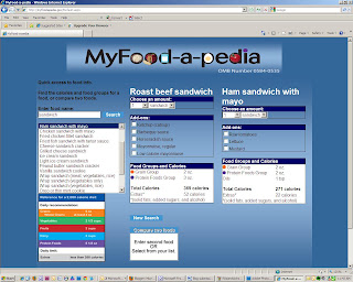 screenshot comparing nutrition information of roast beef sandwich and ham sandwich with mayo on MyFoodaPedia website