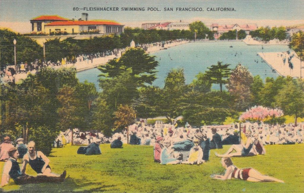 Swimming Pool Postcard Fleischhacker Swimming Pool San