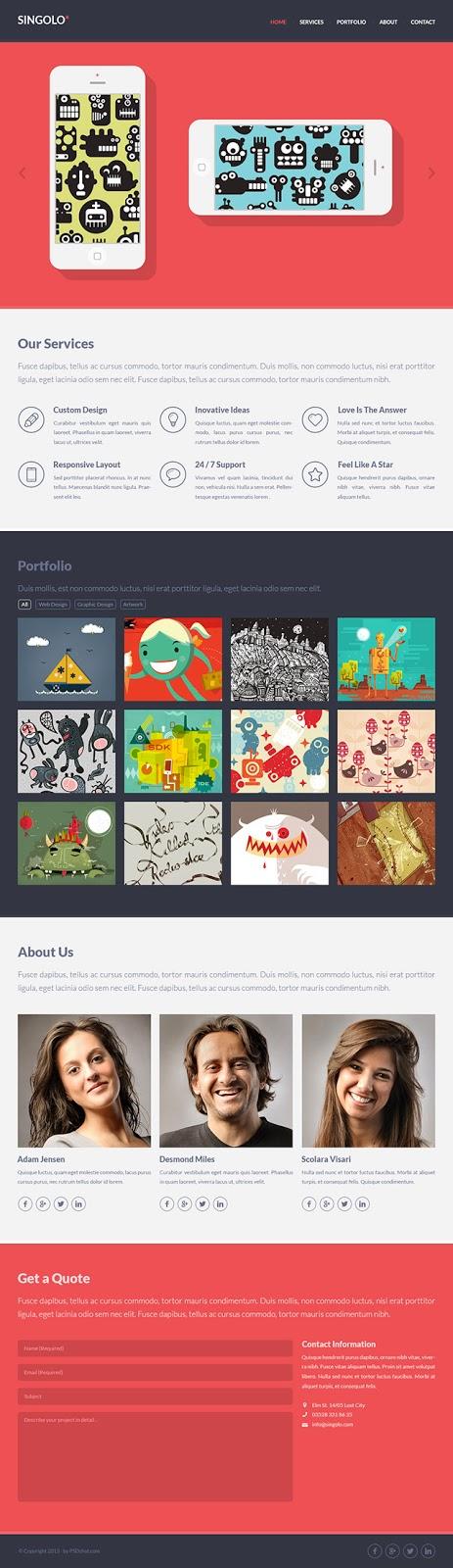 Free Flat Website PSD Template