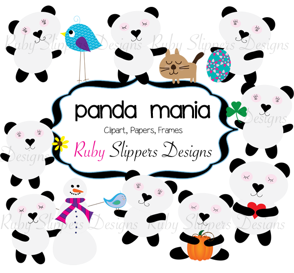 Ruby Slippers Blog Designs: Seasonal Panda Clip Art $2.50