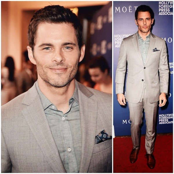 James Marsden wears Z Zegna grey suit and Givenchy brown shoes to Hollywood Foreign Press Association's Grants Banquet 14th August 2014