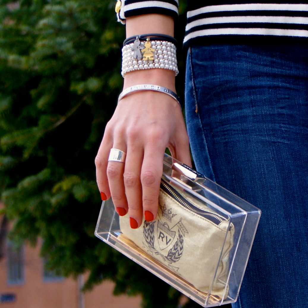 i birikini, pearls, transparent clutch
