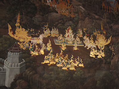 Scenes from the Ramayana painted in the Grand Palace Bangkok