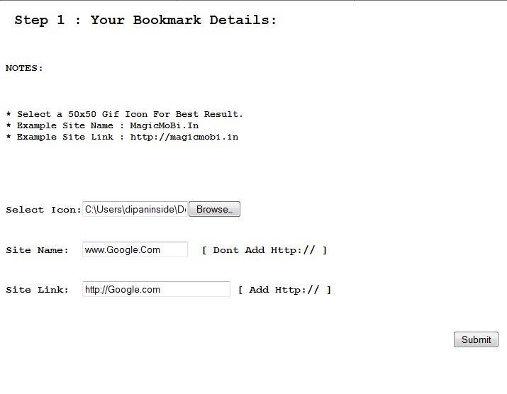 Jar bookmark maker script php html working dipaninside for Bookmark creator jar
