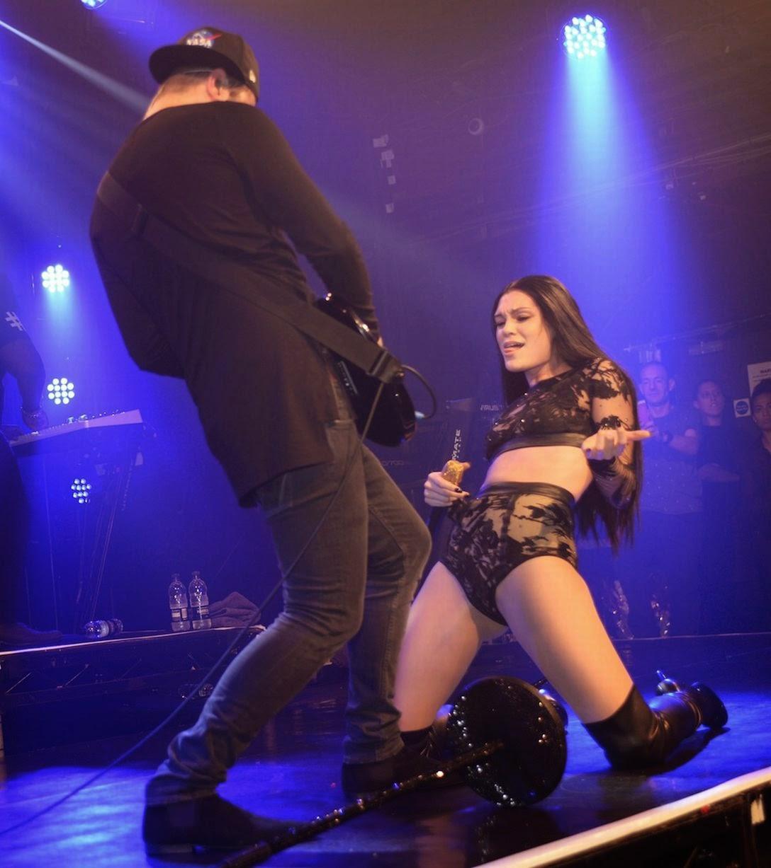Jessie J hot boots black lace transparent lingerie Imgur