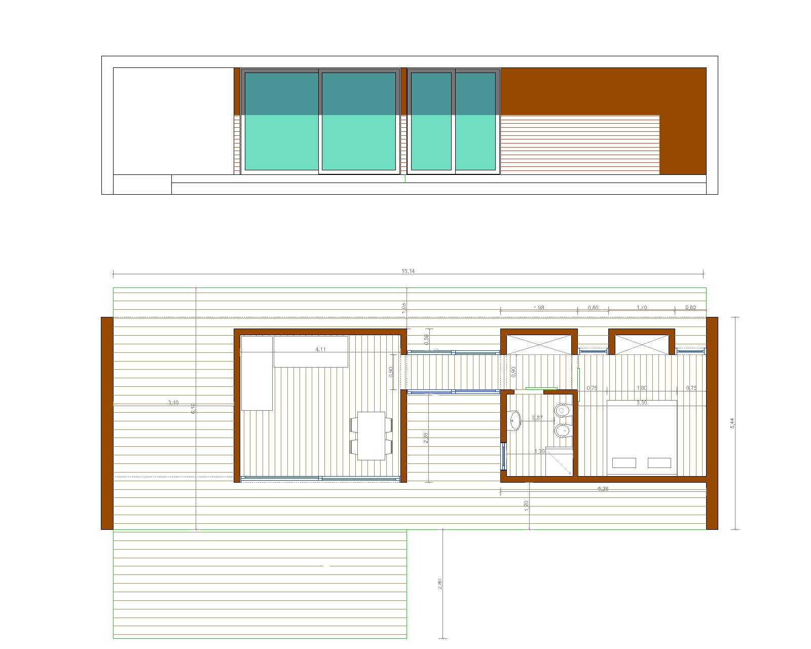 Progetti di case in legno bungalow 45 mq terrazza for 2 500 m di progetti di case aperte