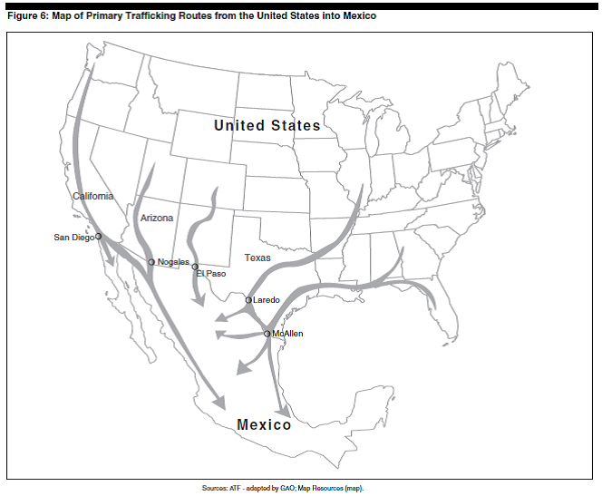 This Map Ilrates The Path The Firearms Travel Texas Is The Prime State To Smuggle Guns Into Mexico Due To Texas Relaxed Gun Laws Drug Cartels Take