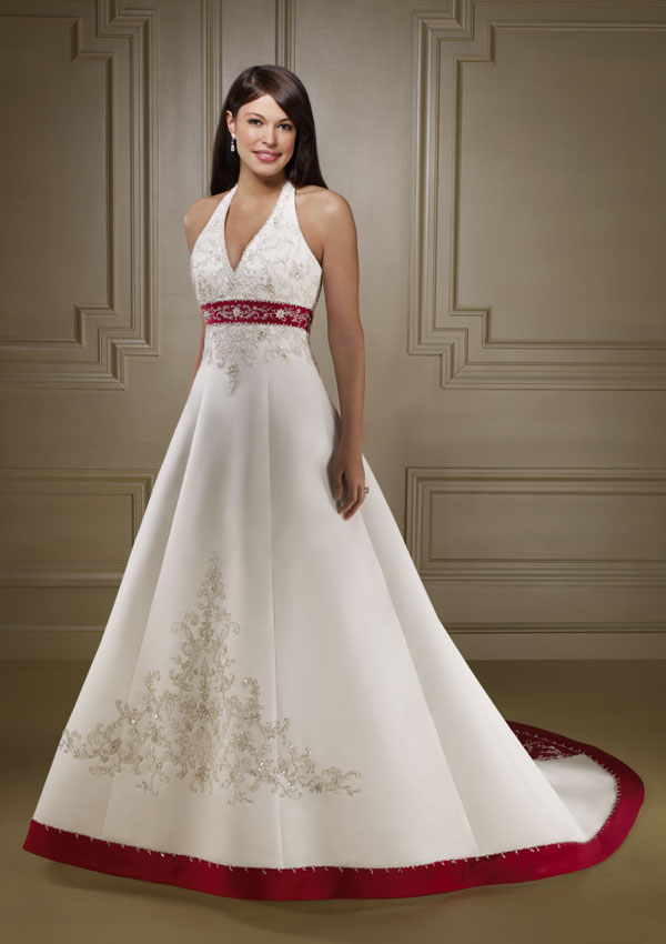 Red and white wedding dress designs for christmas day for Dresses to wear to a christmas wedding