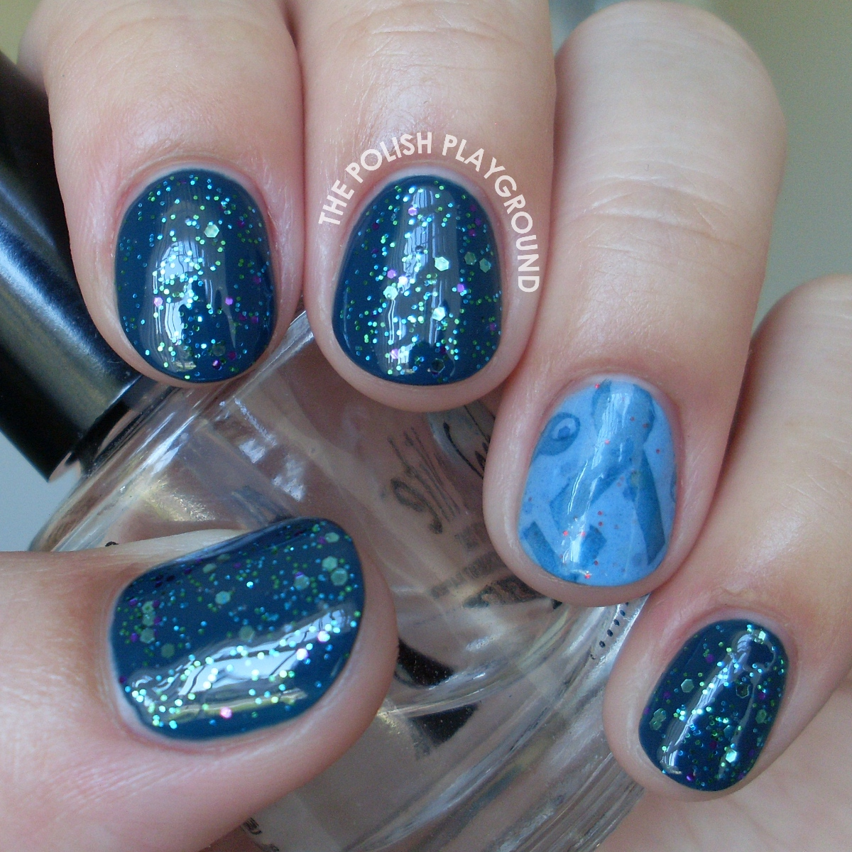 Glittery Teal with Ribbon Stamping Accent Nail Art for Ovarian Cancer Awareness