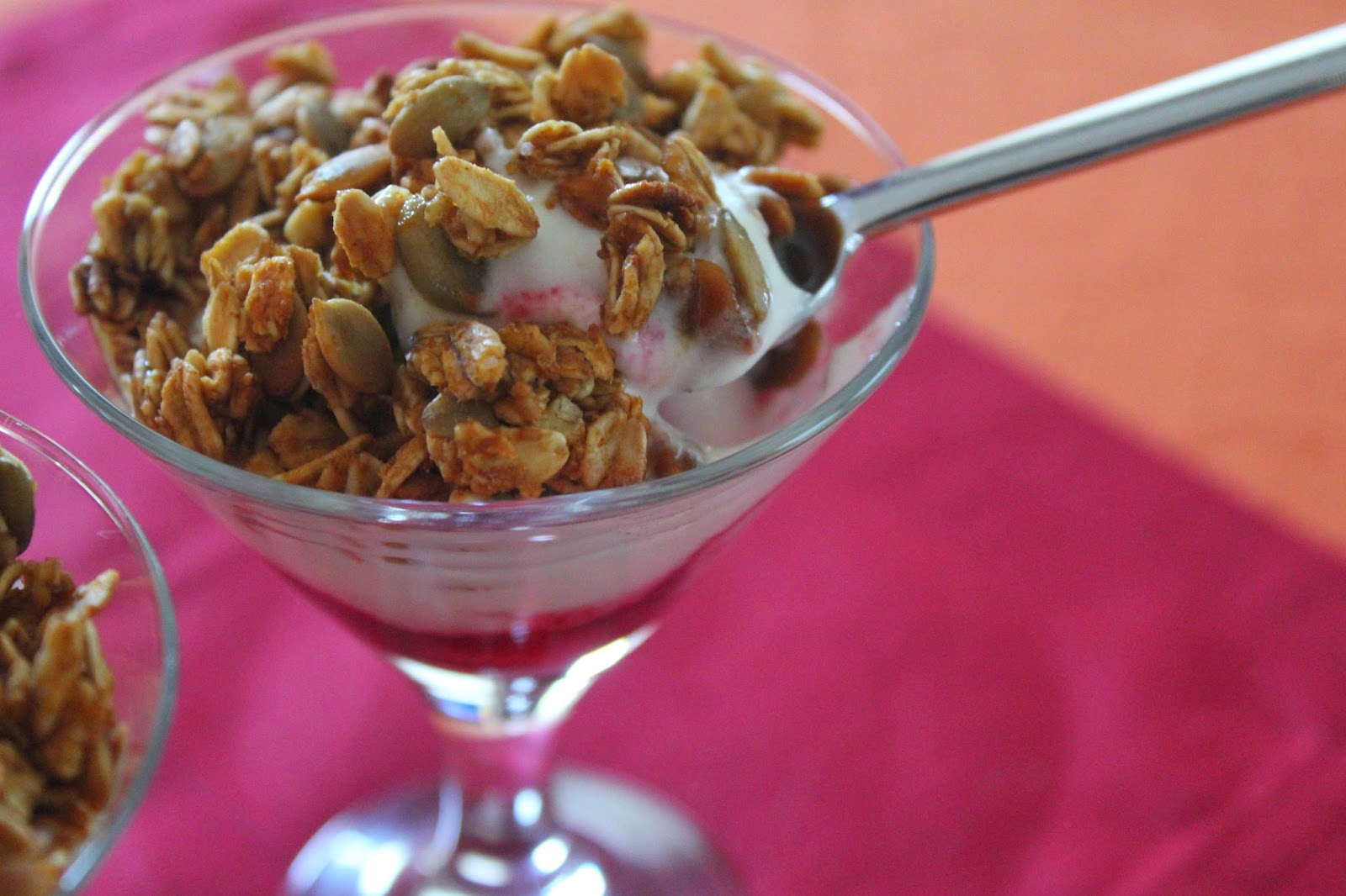 Pumpkin-cranberry yogurt parfaits from Delicious Dishings