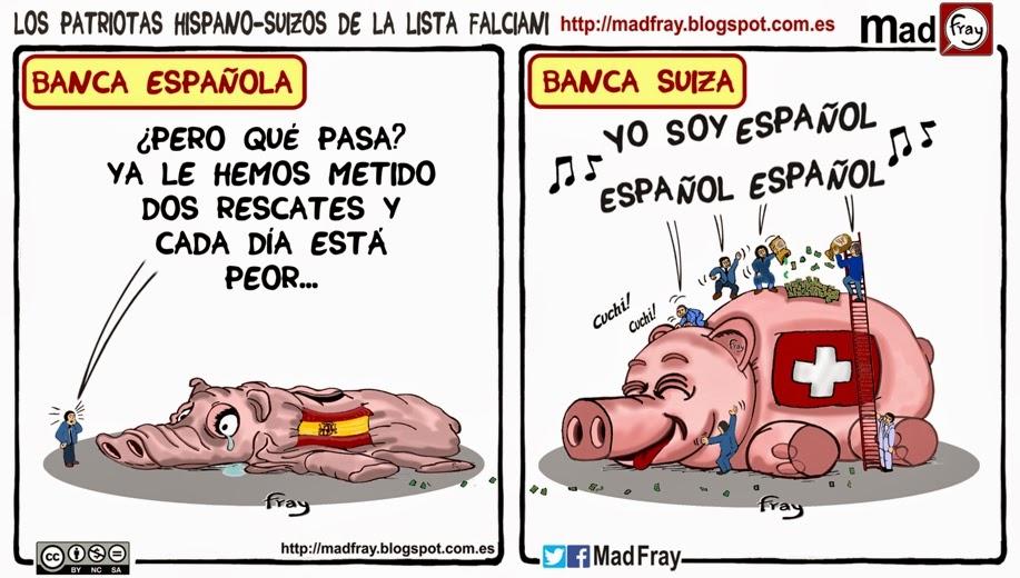 Viñeta: Los patriotas Hispano-suizos de la Lista Falciani, que evadieron impuestos cuando su país más lo necesitaba. Mad Fray