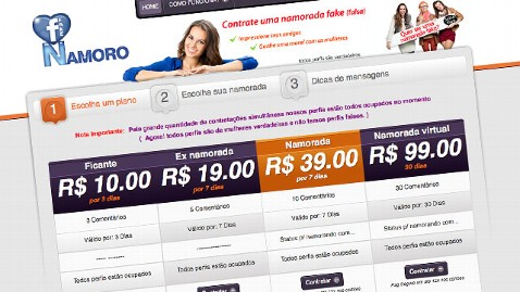 Brazilian website selling fake Facebook girlfriends for $39.99
