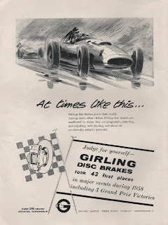 Vintage advertisement for Girling Disc Brakes, c.1959.