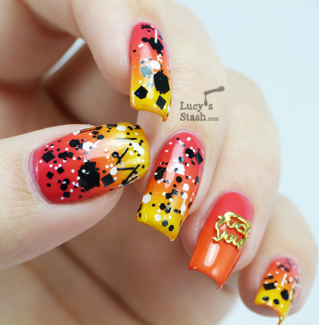Lucy's Stash: Sunset Gradient Nail Art with Sticks 'n' Stones glitter & Hex jewelry charm