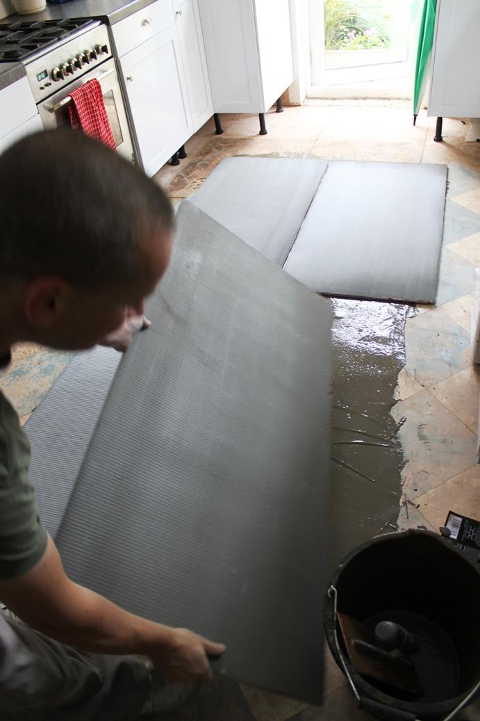 Progress Report Laying Slate Tiles With Underfloor Heating Swoon