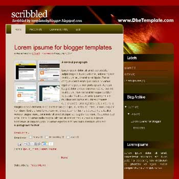 Scribbled blogger template converted from wordpress theme to blogger template with 2 column blogger template
