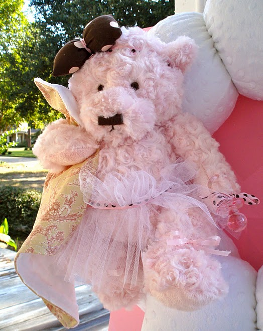 9. Custom Pink Bear Ballerina Wreath Close-up #1