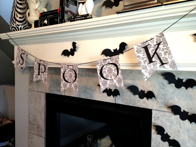 black and white halloween mantel decor