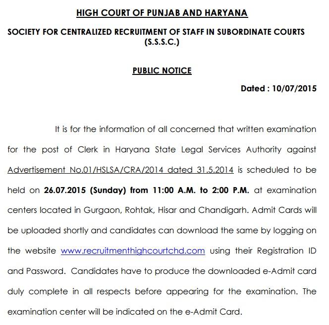 High Court Admit CArd 2015