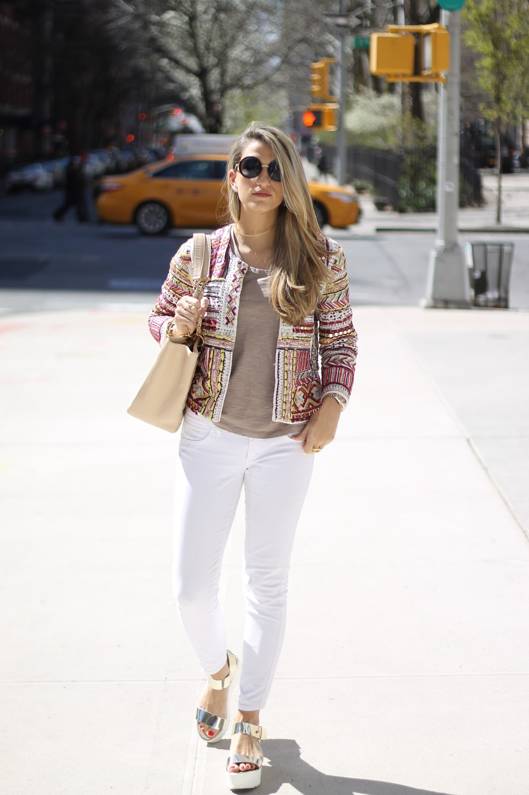 Mango Embroidered Bead Jacket, Siwy Hannah White Skinny Jeans,  Steve Madden Gold Surfside Platform Sandals,  Chanel Beige Shopper Tote,  Le Specs Ziggy Round Sunglasses