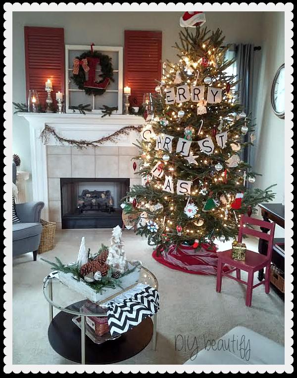 Christmas Mantle and Tree DIY beautify blog