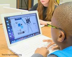 This is a picture of a student creating their own digital super hero online.