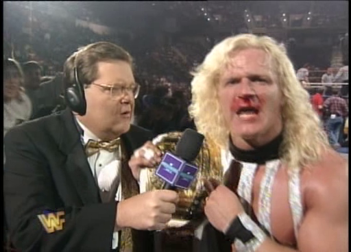 WWF / WWE: Wrestlemania 11 - Jim Ross interviews Jeff Jarrett following the latter's Intercontinental title match against Razor Ramon