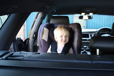 Britax MAX-FIX rear-facing car seat viewed from the boot