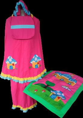 Paket Mukena anak motif rumah jamur warna Pink