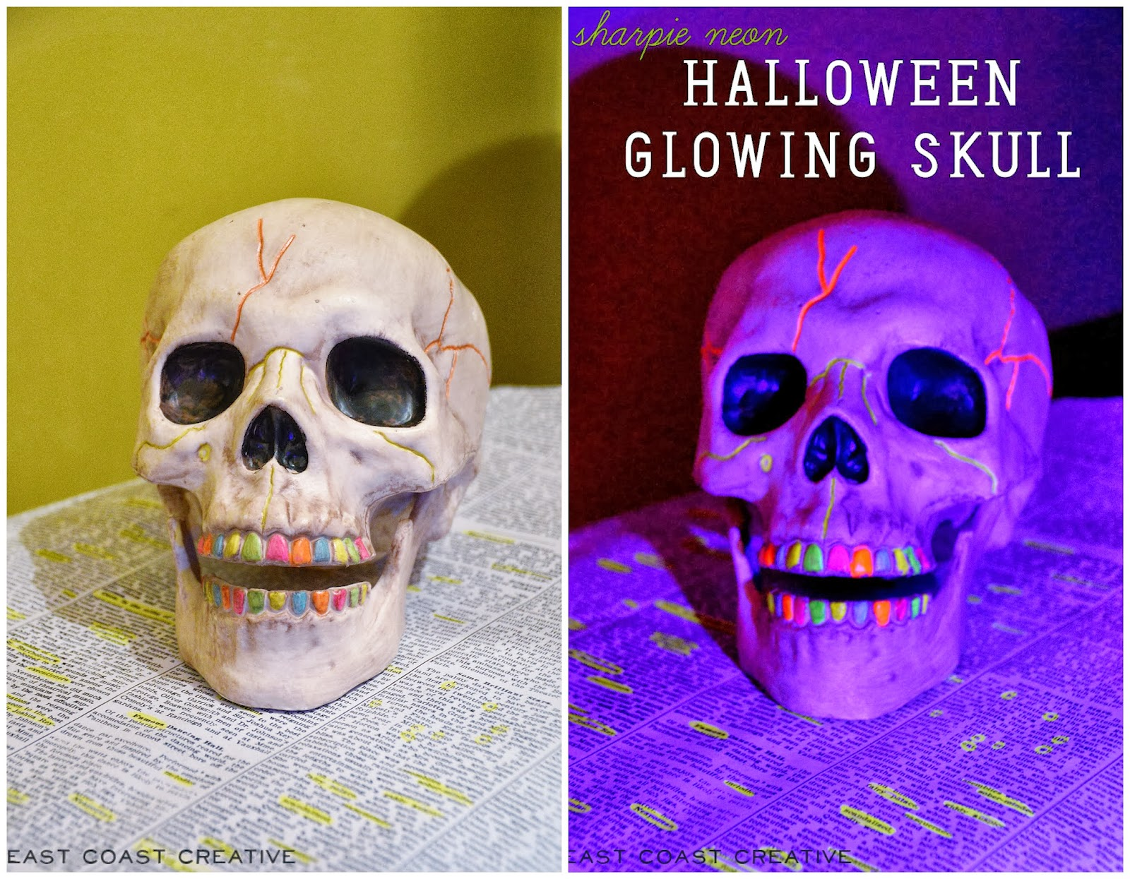 halloween decorating with sharpie neon markers