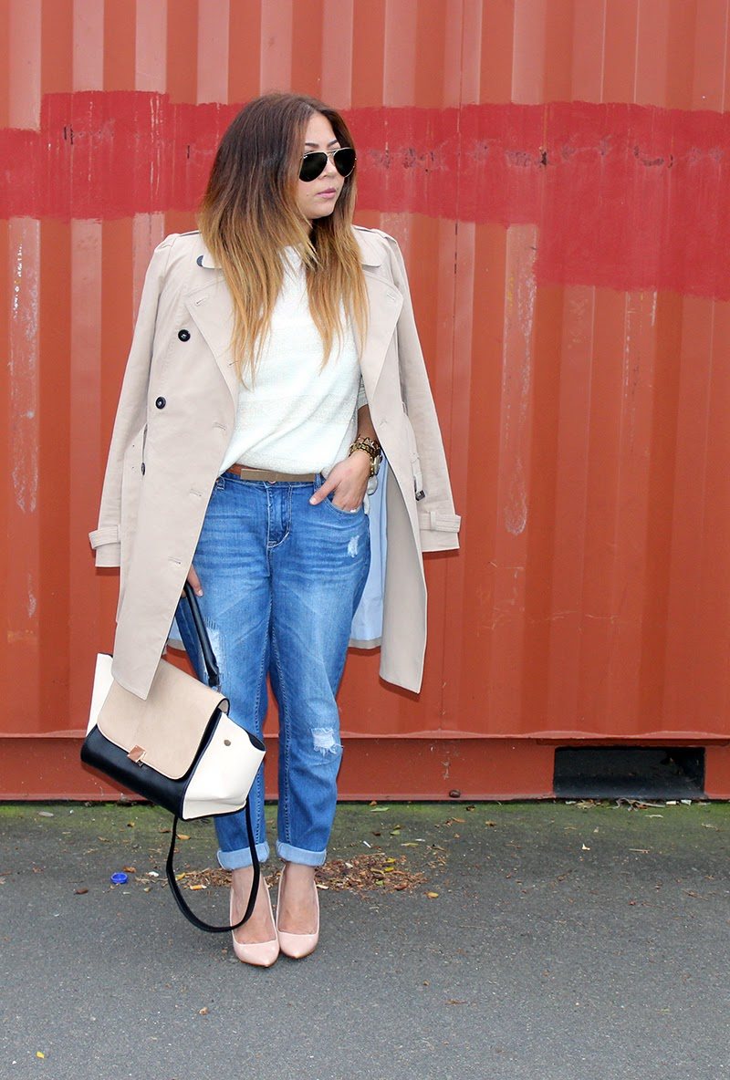 Trench Coat OOTD, trench coat & boyfriend jeans, classic style, neutral ootd, fashion blogger cape town, laiqah ally, lucky loves blog, long blonde ombre hair, ray ban aviators large, blackcherry