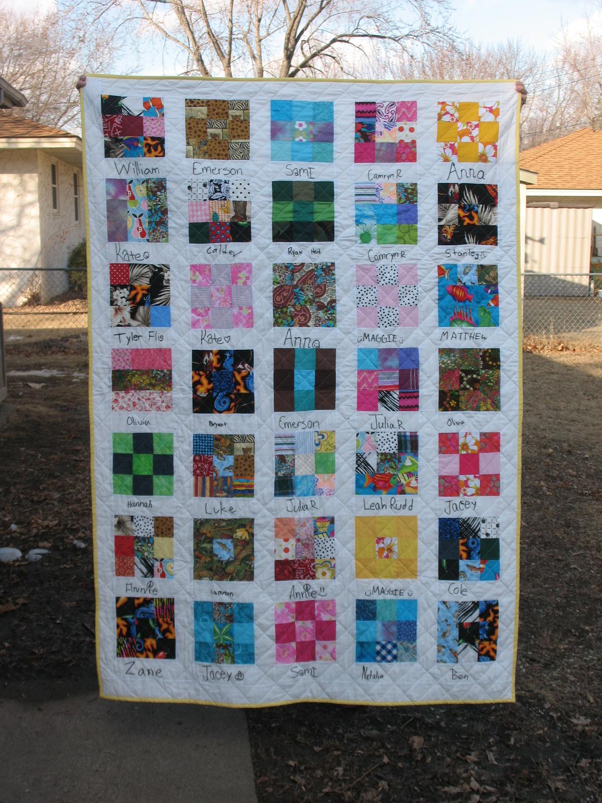 Quilting Class Ideas : Creative Chicks: Class Quilt--5th Grade 2012