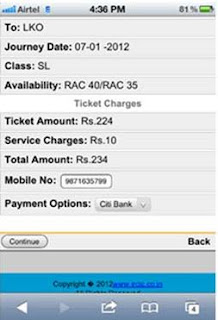 confirm ticket booking and pay using mobile