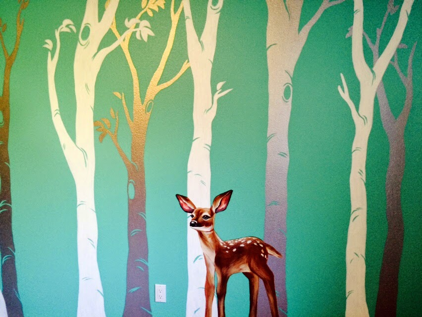 Birch tree mural, owl mural, portland oregon muralist, nursery tree mural, owl in tree mural