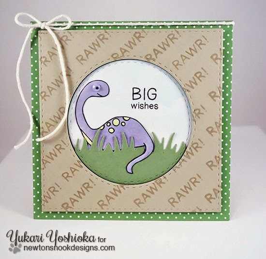 Big Wishes Dinosaur Card by Yukari Yoshioka | Prehistoric Pals stamp set by Newton's Nook Designs