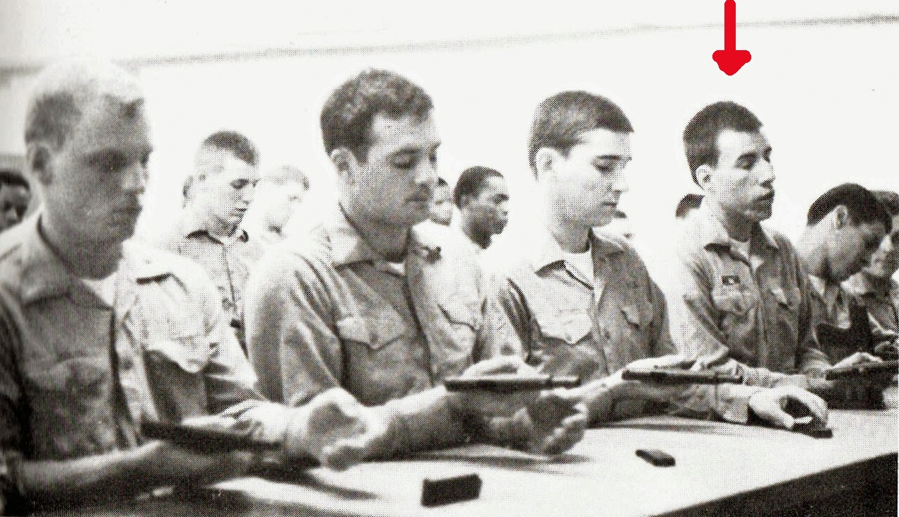 Tommy Mondello sleeping his way thru gun safety class in navy bootcamp Orlando, Fla. 1981