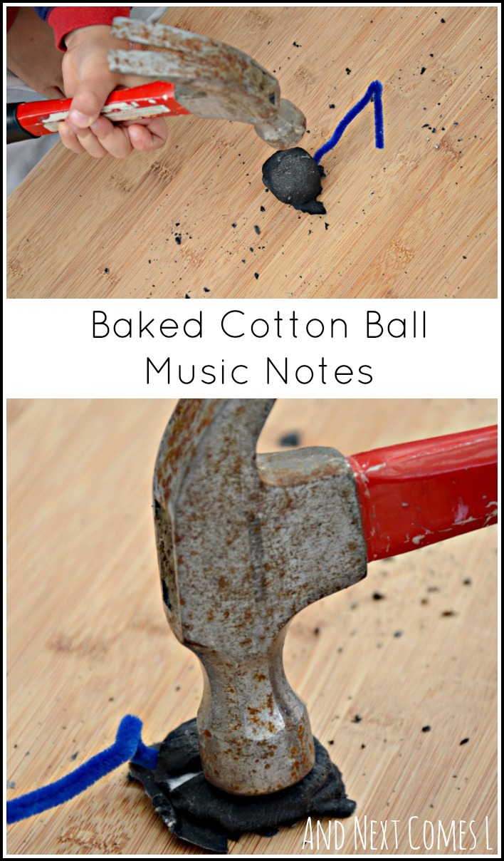 Baked cotton ball music notes: fine motor play for kids using real tools from And Next Comes L