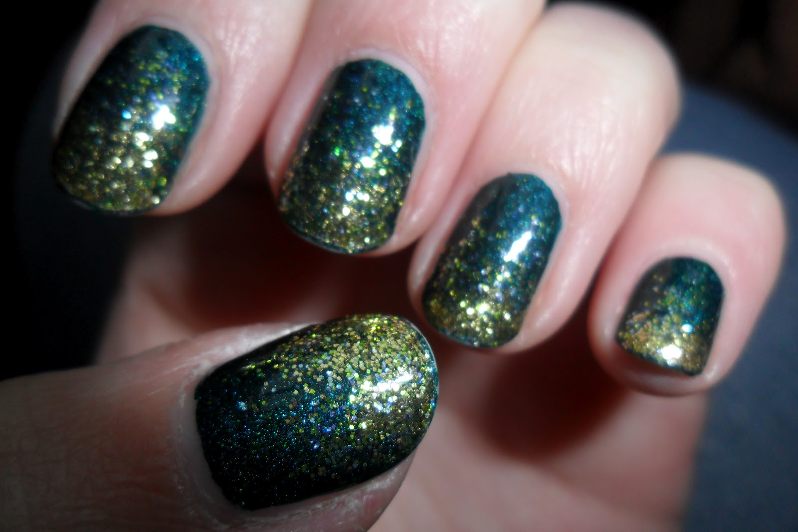teal holographic with green and gold glitter gradient