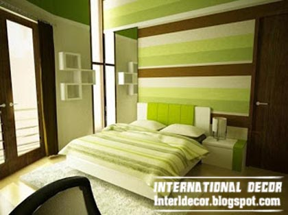 Striped Green Bedroom Paint Ideas Latest Color Schemes Interior