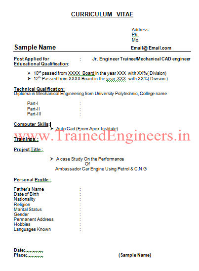 Download Resumes Format For Trainee Engineers Type 4 - Mechanical