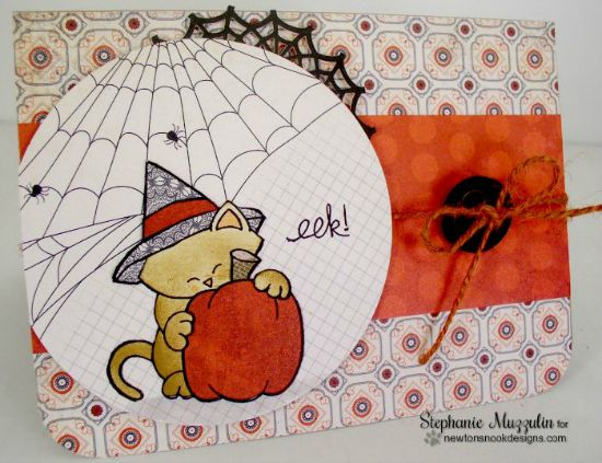 Cat Halloween Card by Stephanie Muzzulin | Newton's Perfect Pumpkin stamp set by Newton's Nook Designs #newtonsnook