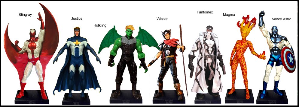 <b>Wave 1</b>: Stingray, Justice, Hulkling, Wiccan, Fantomex, Magma and Vance Astro