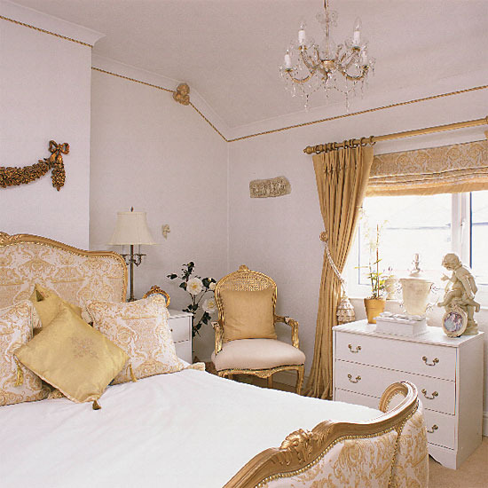 New home interior design glamorous traditional bedroom - White and gold room ...