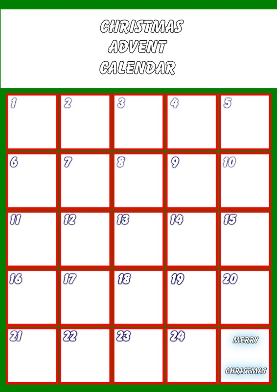 Christmas blank calendar template