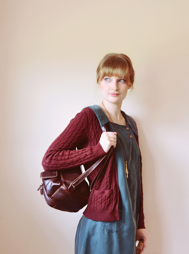 Back to school outfit - jade dress and maroon cardigan
