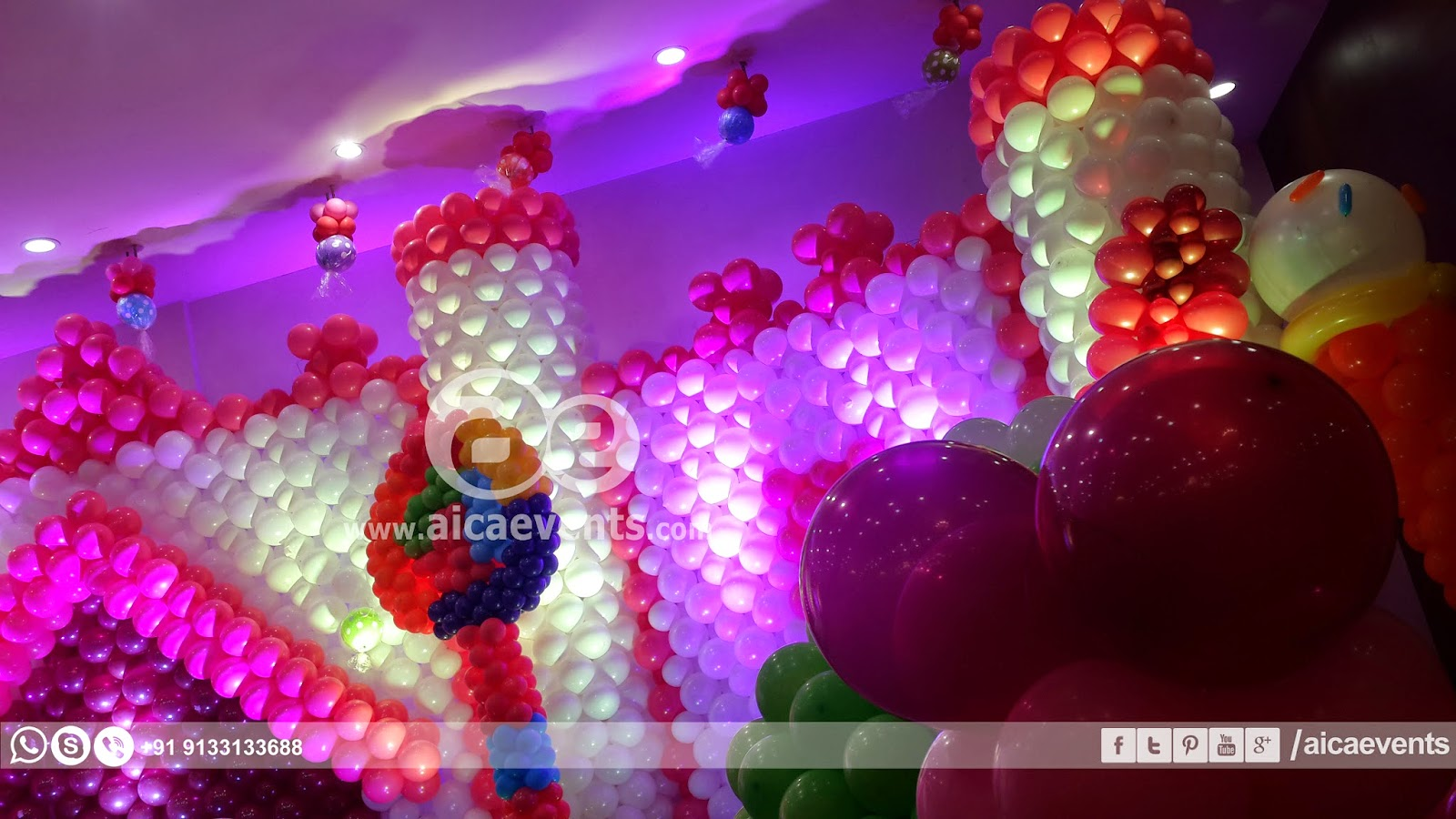 Aicaevents india castle with balloon wall decoration for Party wall regulations