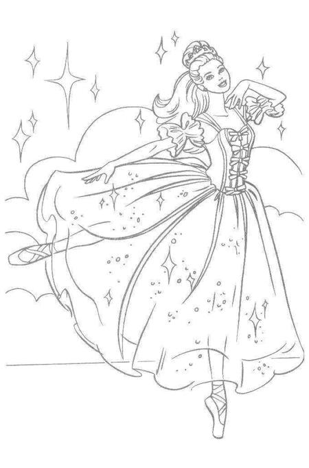 صورة أميرة ترقص بفستان جميل لتلوين البنات