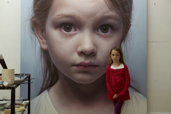 Gottfried Helnwein paintings hyper-realistic little girls injured innocence violence The painting of a little girl and it's model