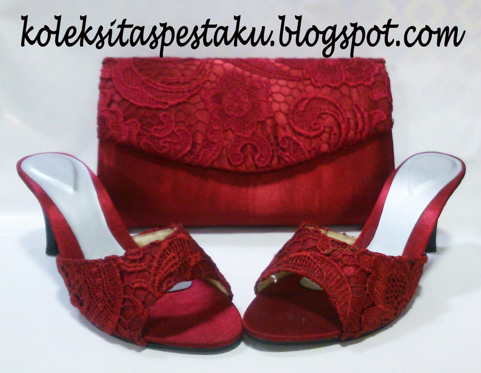 Sandal Pesta dan Tas Pesta Maroon Mewah Cantik Unik