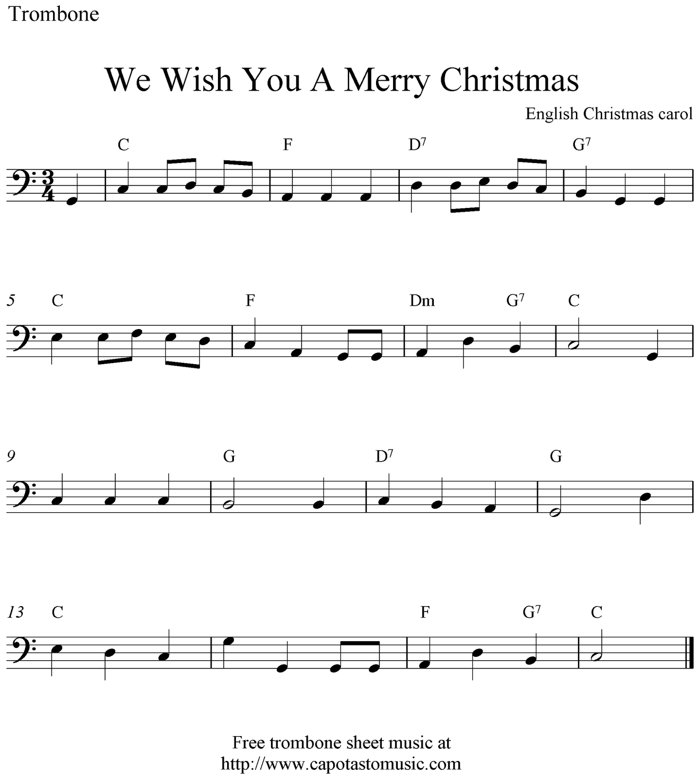 Free Christmas piano sheet music, We Wish You A Merry Christmas